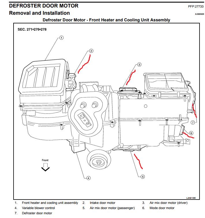 heater blend door actuator location 2006 nissan pathfinder