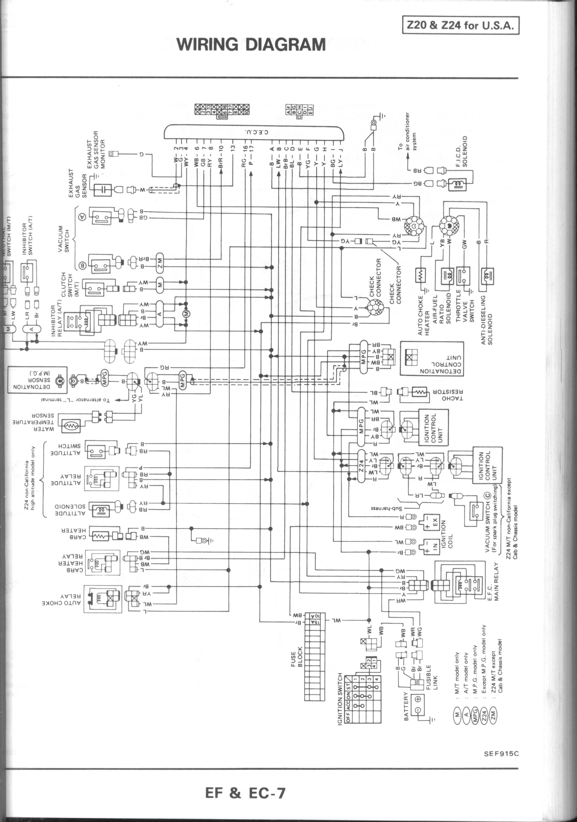 1986 Nissan Pickup Ignition Wiring Diagram Residential Electrical Fiat Uno Turbo And System Circuit Nut Rh Nissannut Com Z24 Engine Dash