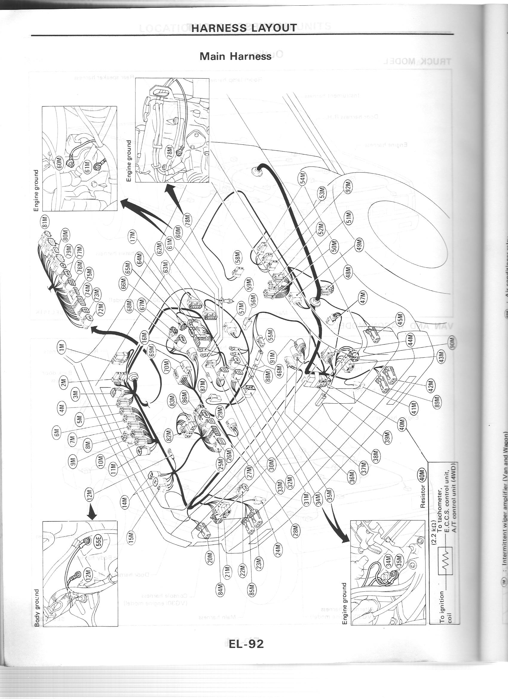 Nissan Nut Vg30e Engine Wiring Diagram Harness Connecters 88 D21
